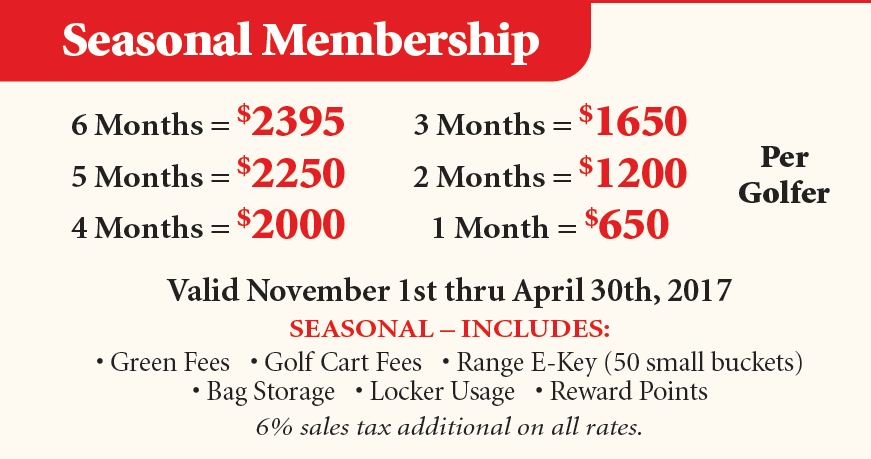 Winter Full monty golf membership