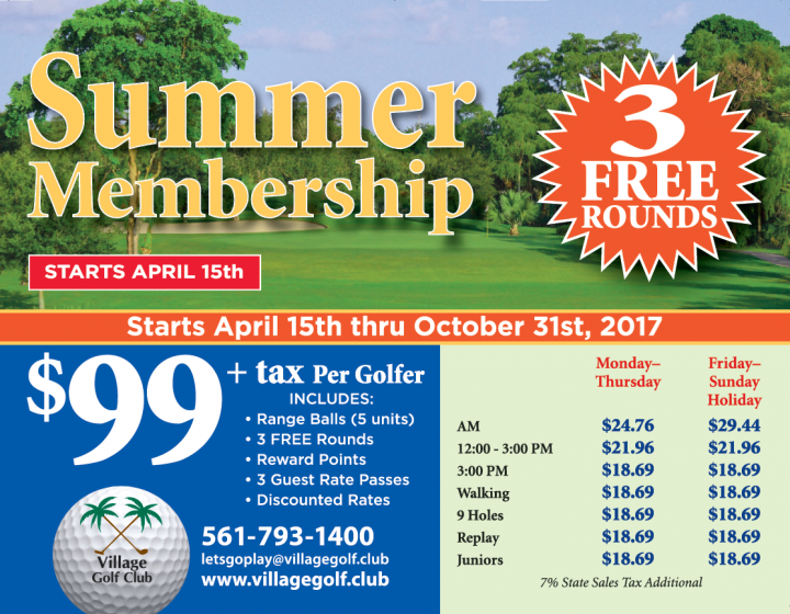 $99 summer golf membership Village Golf club 122 Country Club Dr Royal Palm Beach Fl 33411